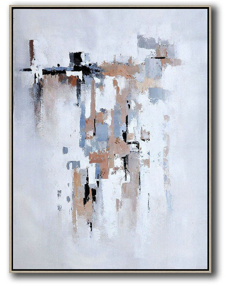 Vertical Palette Knife Contemporary Art,Custom Canvas Wall Art,Beige,Grey,White,Violet Ash