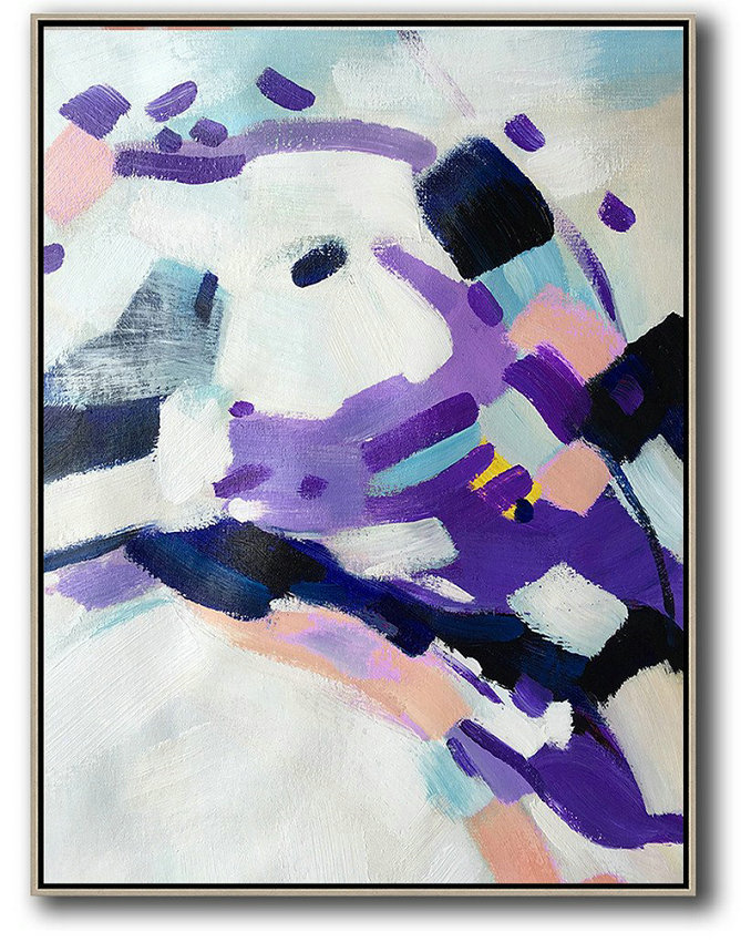 Vertical Palette Knife Contemporary Art,Acrylic Painting Large Wall Art,White,Pink,Black,Purple