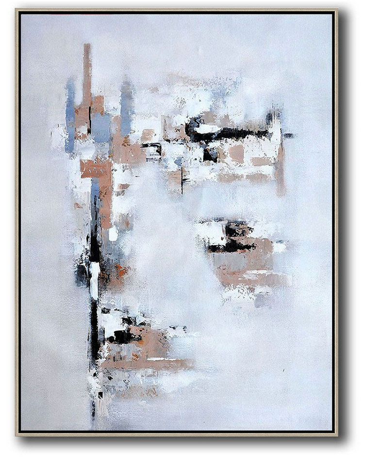 Vertical Palette Knife Contemporary Art,Oversized Art,Earthy Yellow,White,Grey