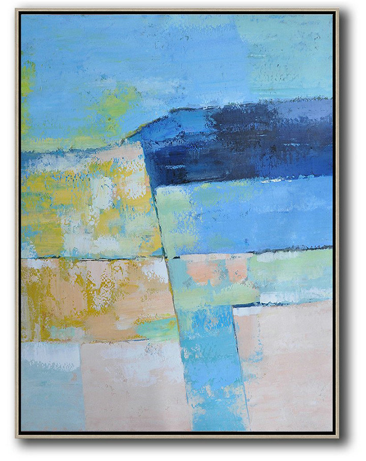 Vertical Palette Knife Contemporary Art,Modern Canvas Art,Blue,Pink,Yellow