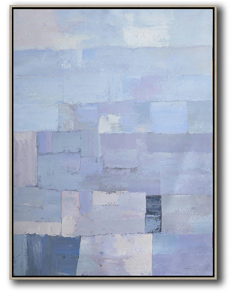 Vertical Palette Knife Contemporary Art,Modern Wall Art,Purple,Blue,White