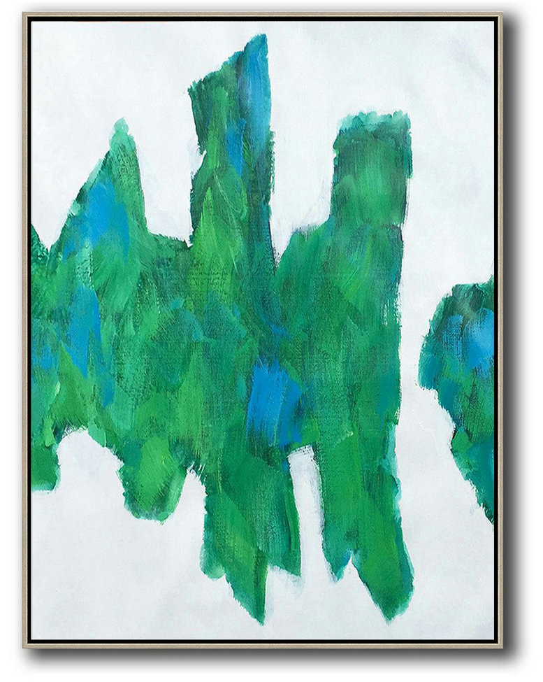 Vertical Palette Knife Contemporary Art,Modern Wall Art,White,Green,Blue
