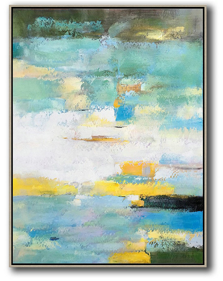 Vertical Palette Knife Contemporary Art,Artwork For Sale,Green,White,Yellow,Blue