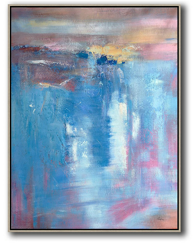 Vertical Palette Knife Contemporary Art,Canvas Wall Art,Blue,Pink,Brown,Yellow,White