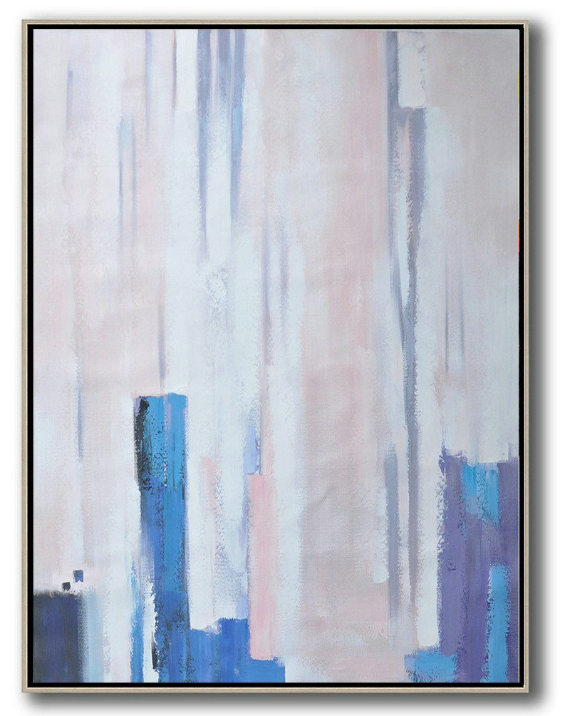 Vertical Palette Knife Contemporary Art,Art Work,Pink,Blue,Purple,White