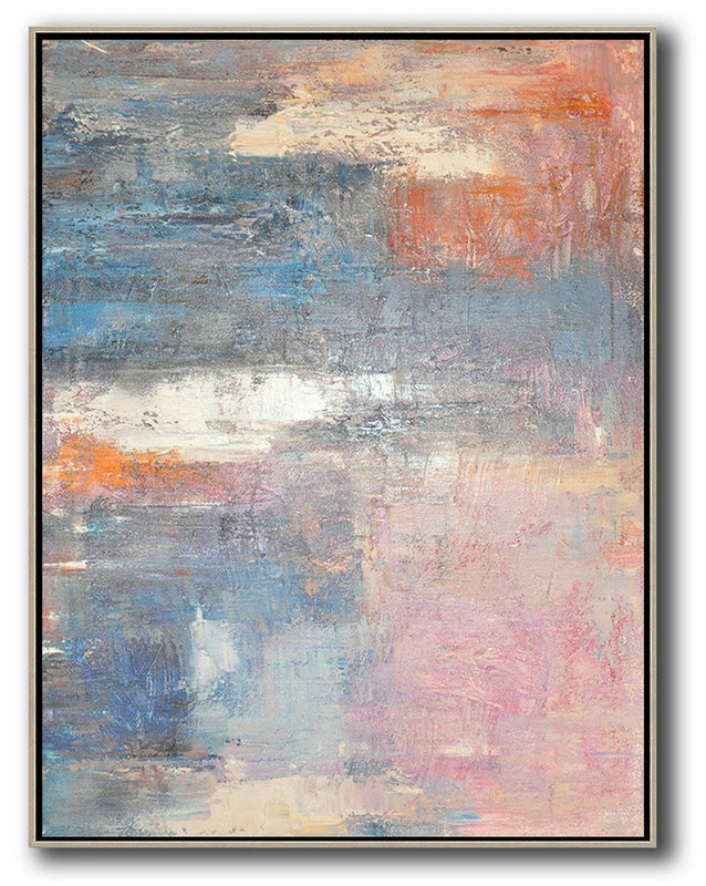 Vertical Palette Knife Contemporary Art,Modern Paintings On Canvas,Pink,White,Orange,Violet Ash