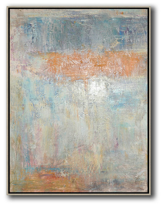 Vertical Palette Knife Contemporary Art,Size Extra Large Abstract Art,Grey,Orange,Blue