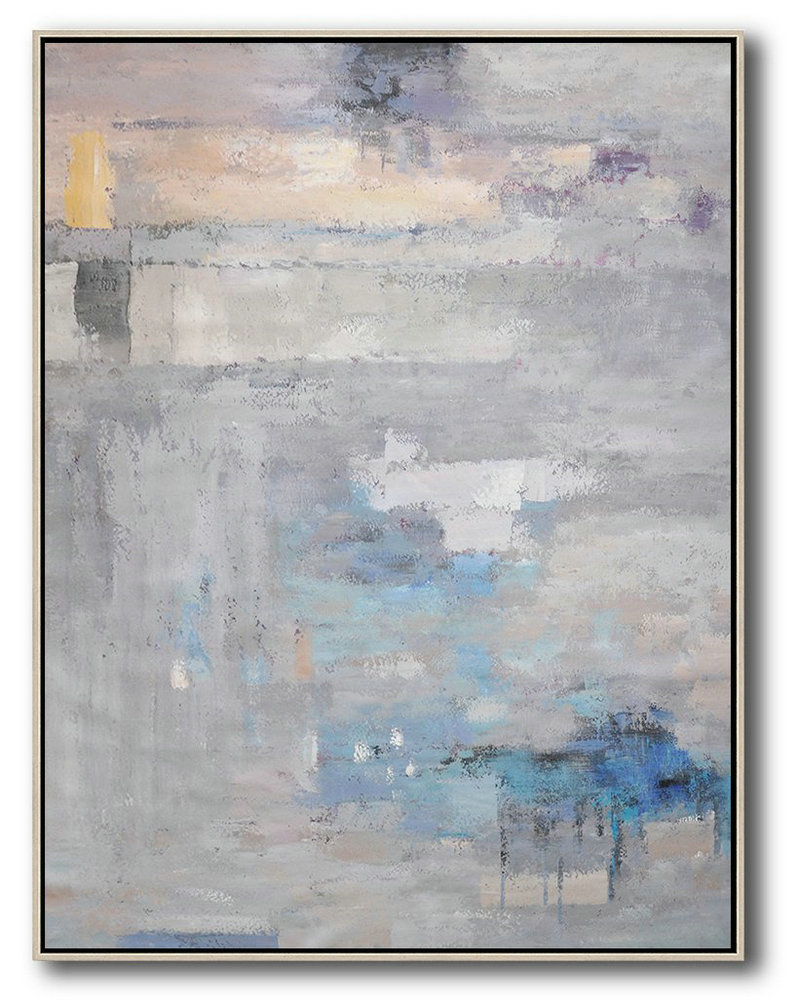Vertical Palette Knife Contemporary Art,Extra Large Artwork,Grey,Blue,Violet Ash