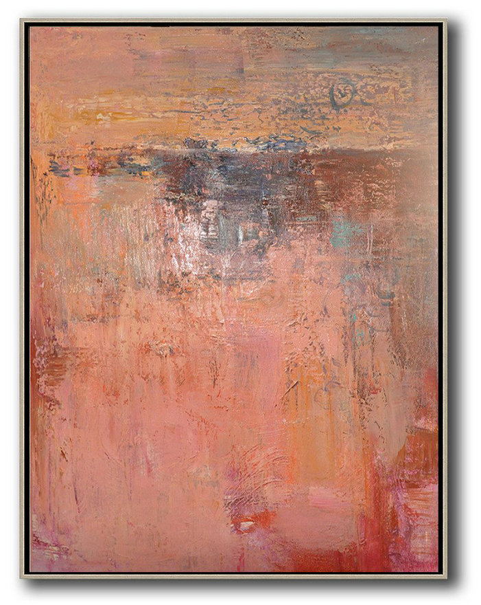 Vertical Palette Knife Contemporary Art,Giant Canvas Wall Art,Pink,Brown,Red