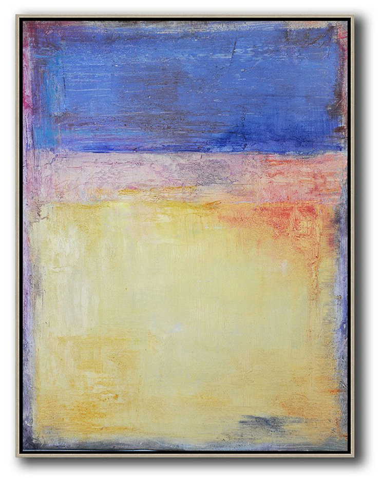 Vertical Contemporary Art,Living Room Canvas Art,Blue,Purple,Yellow