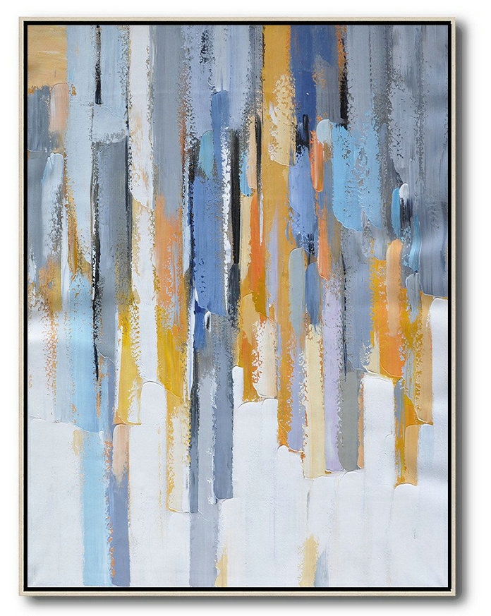 Vertical Palette Knife Contemporary Art,Large Living Room Wall Decor,Purple,Yellow,White,Grey