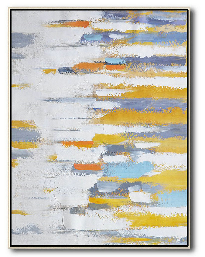Vertical Palette Knife Contemporary Art,Wall Art Painting,White,Yellow,Purple