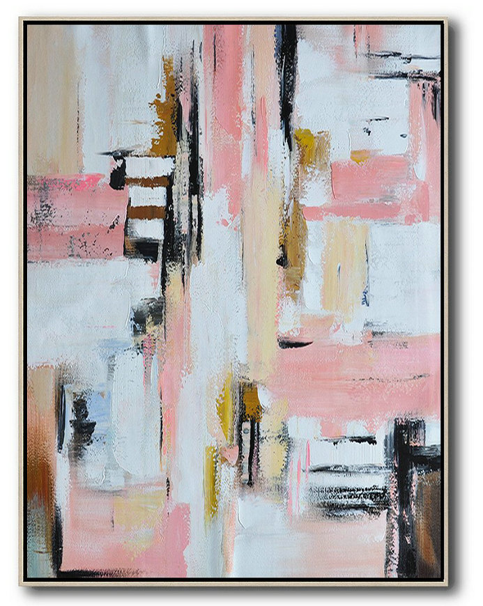 Vertical Palette Knife Contemporary Art,Large Wall Art Home Decor,Pink,White,Beige,Brown