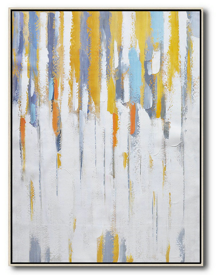 Vertical Palette Knife Contemporary Art,Pop Art Canvas,White,Yellow,Violet Ash,Grey