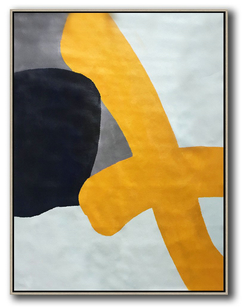 Vertical Contemporary Art,Original Art Acrylic Painting,Yellow,White,Black,Navy Blue