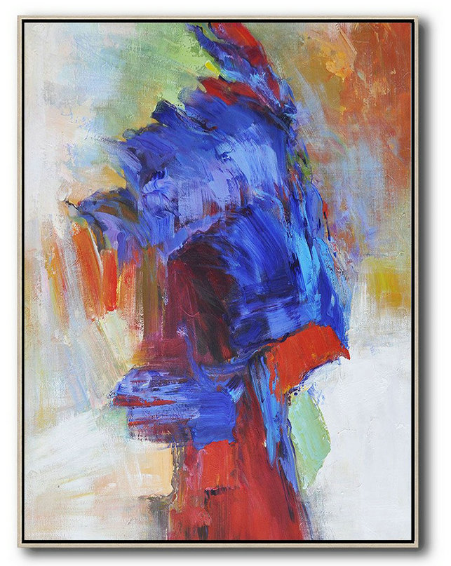 Vertical Palette Knife Contemporary Art,Hand Paint Large Clean Modern Art,Blue,Red,White,Orange,Brown
