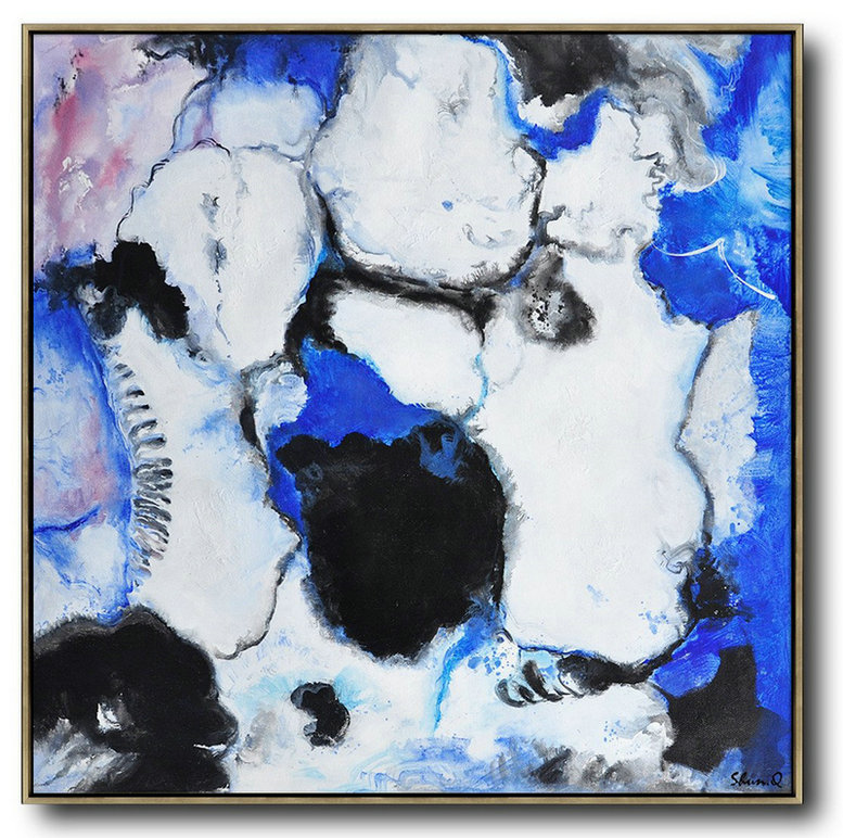 Contemporary Oil Painting,Modern Abstract Wall Art,Blue,White,Black,Purple