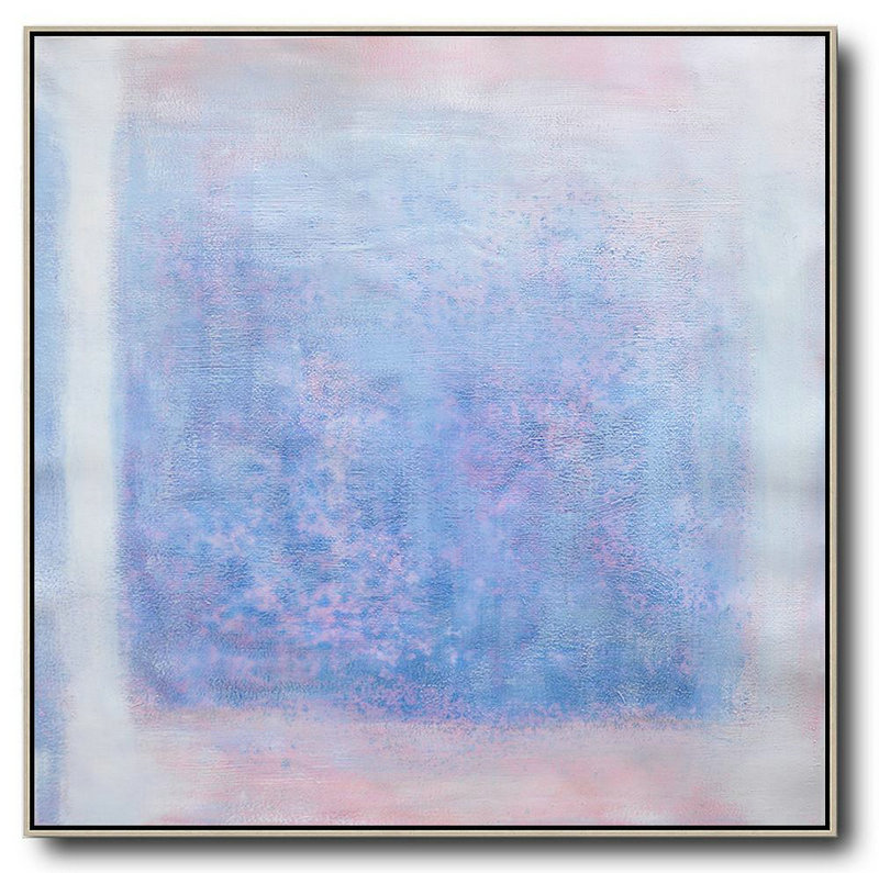 Oversized Contemporary Painting,Abstract Painting For Home,Blue,Pink,White,Gray