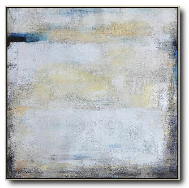 Oversized Contemporary Painting,Abstract Paintings On Sale,White,Yellow,Blue,Black