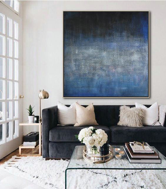 Oversized Contemporary Painting,Abstract Art Decor Large Canvas Painting,Dark Blue,Black,Grey