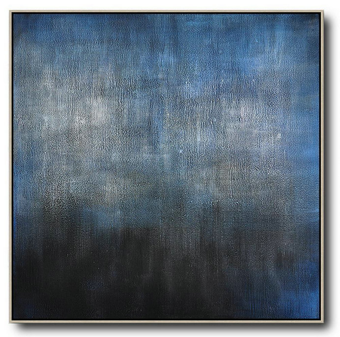 Oversized Contemporary Painting,Original Abstract Oil Paintings,Black,Blue,Gray