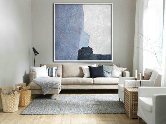 Oversized Abstract Landscape Painting,Lounge Wall Decor,Blue,Violet And Grey,White