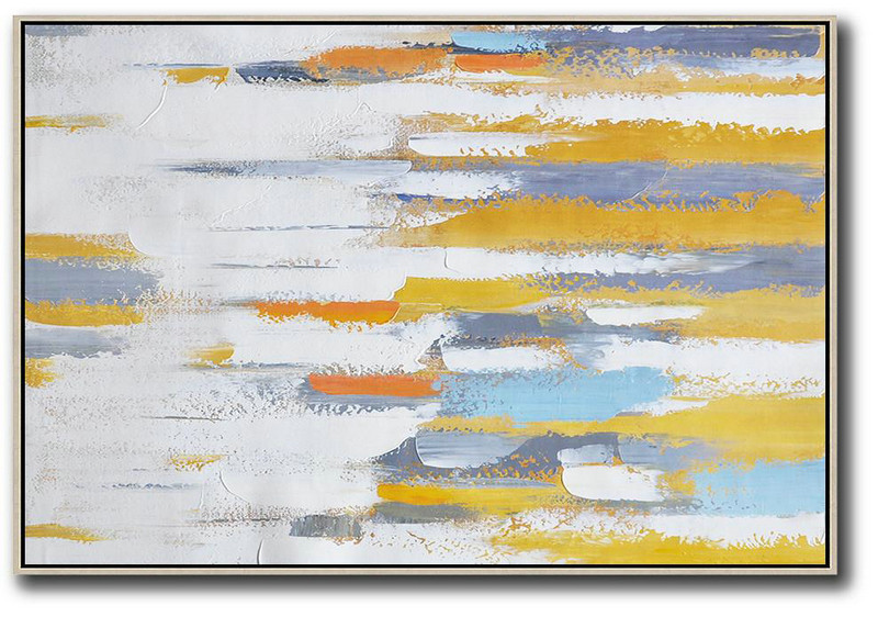 Oversized Contemporary Painting On Canvas,Giant Canvas Wall Art,Yellow,White,Grey