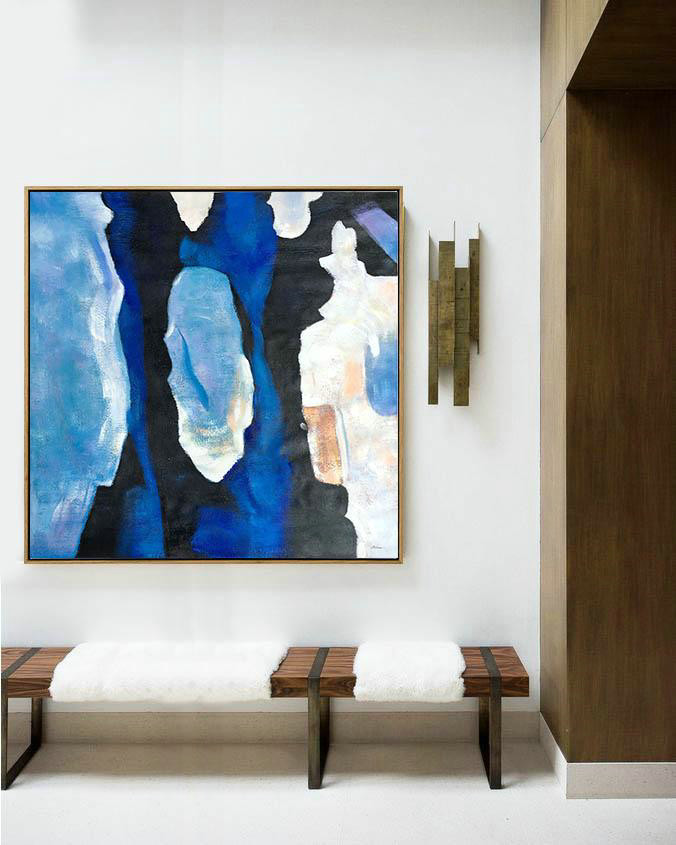 Oversized Blue Contemporary Painting On Canvas,Living Room Canvas Art,Blue,Black,White,Sky Blue