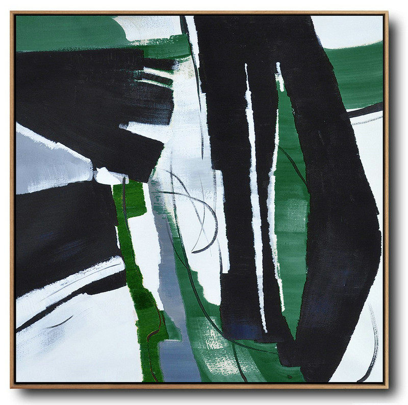 Oversized Dark Green Contemporary Painting On Canvas,Huge Abstract Canvas Art,Dark Green,Balck,White
