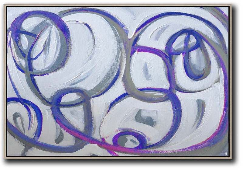 Horizontal Palette Knife Contemporary Art,Acrylic Painting On Canvas,White,Grey,Purple,Blue
