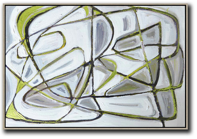 Horizontal Palette Knife Contemporary Art,Hand Painted Aclylic Painting On Canvas,White,Grey,Green,Black