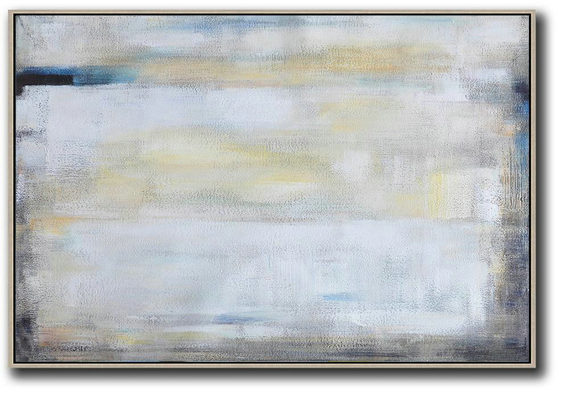 Oversized Horizontal Contemporary Art,Canvas Wall Paintings,White,Grey,Yellow