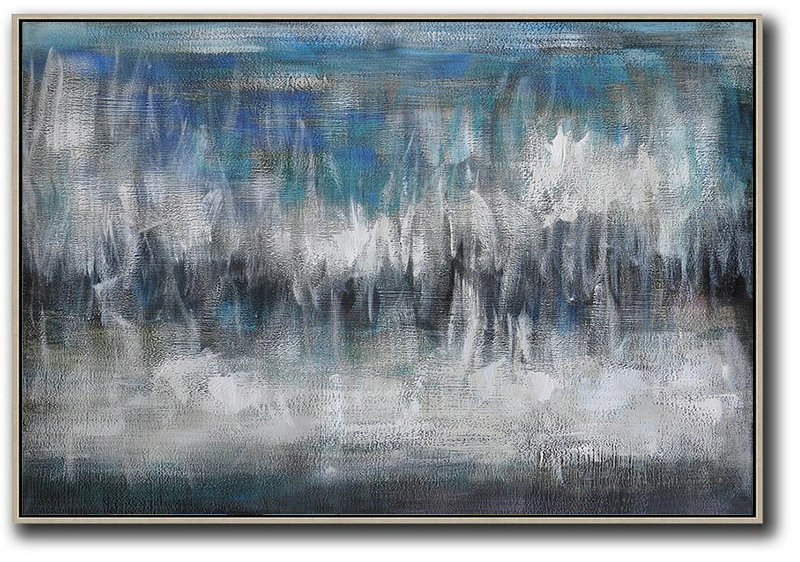 Oversized Horizontal Contemporary Art,Modern Wall Decor,Blue,Grey,Black,White