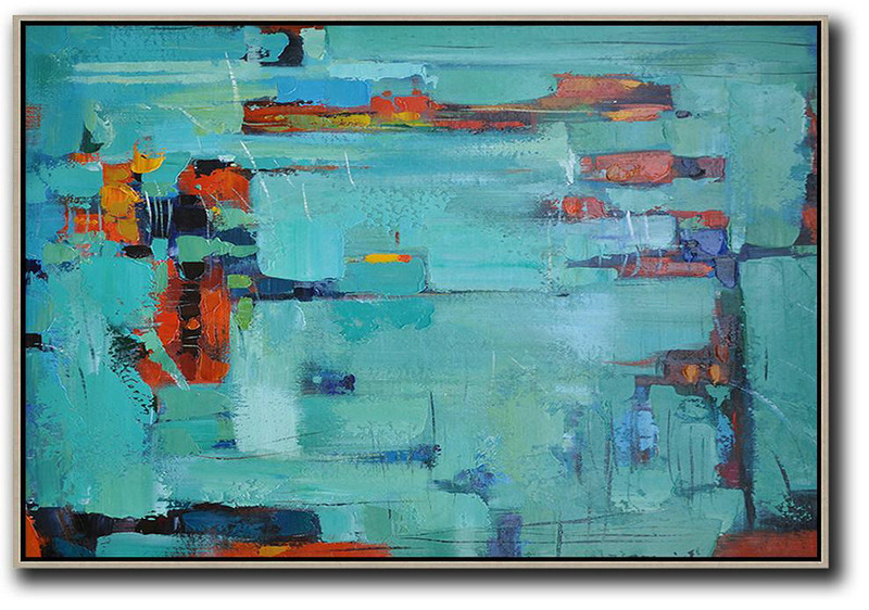 Oversized Horizontal Contemporary Art,Wall Art Ideas For Living Room,Lake Blue,Dark Blue ,Red