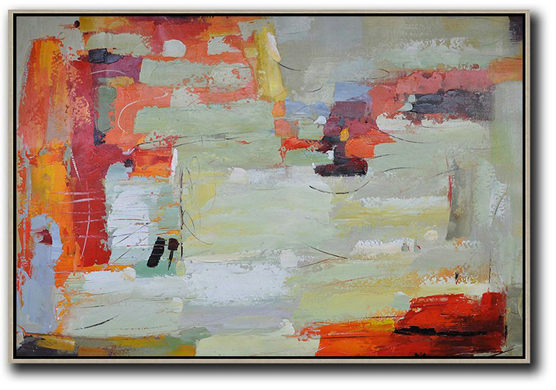 Oversized Horizontal Contemporary Art,Extra Large Wall Art,Red,Light Green,Yellow,Grey