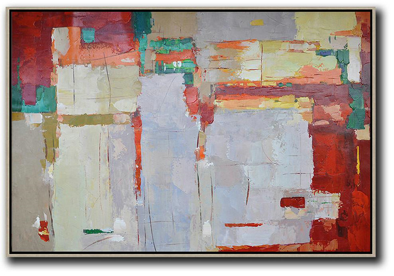 Oversized Horizontal Contemporary Art,Acrylic Painting Canvas Art,Grey,Red,Yellow