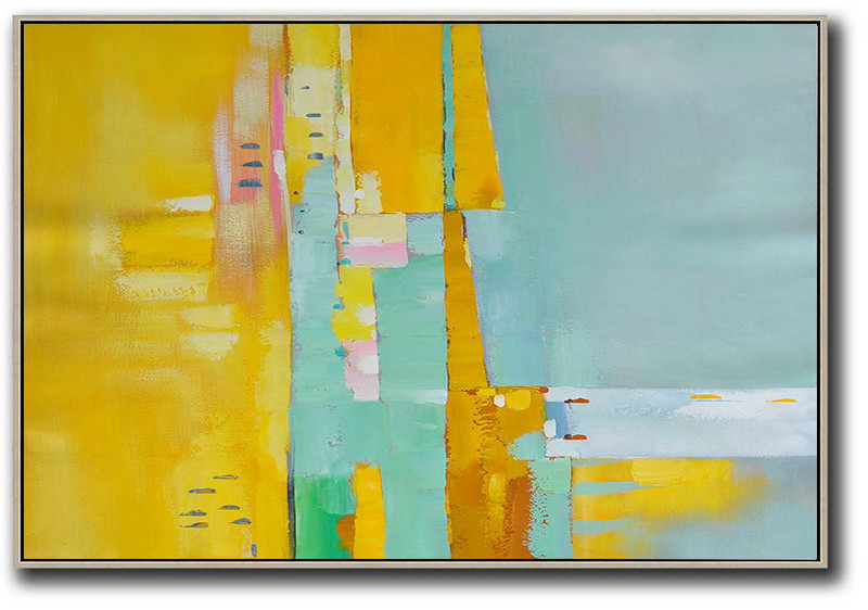 Oversized Horizontal Contemporary Art,Large Wall Canvas,Yellow,White,Light Green,Pink