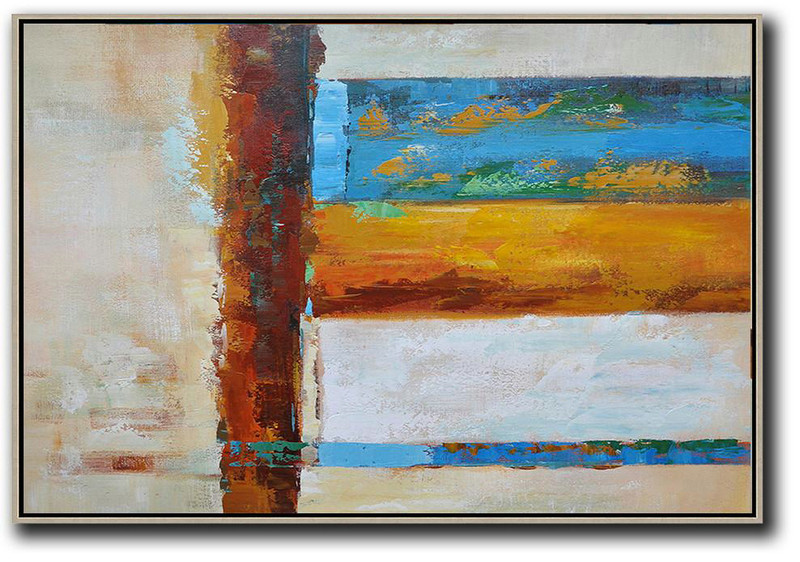 Oversized Horizontal Contemporary Art,Size Extra Large Abstract Art,Blue,Yellow,White,Brown,Light Yellow