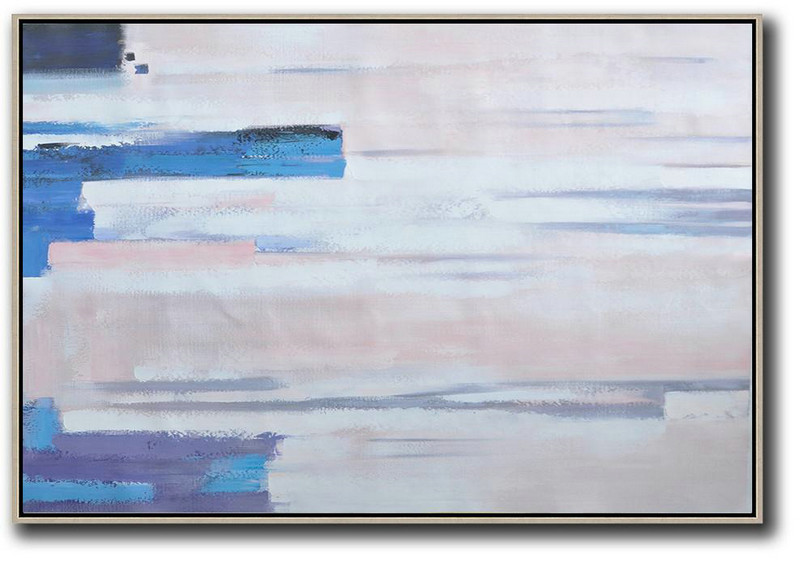 Oversized Horizontal Contemporary Art,Artwork For Sale,White,Pink,Blue,Purple