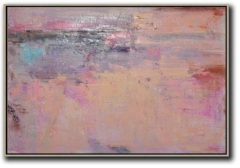 Oversized Horizontal Contemporary Art,Original Abstract Painting Canvas Art,Nude,Pink,Purple,Brown