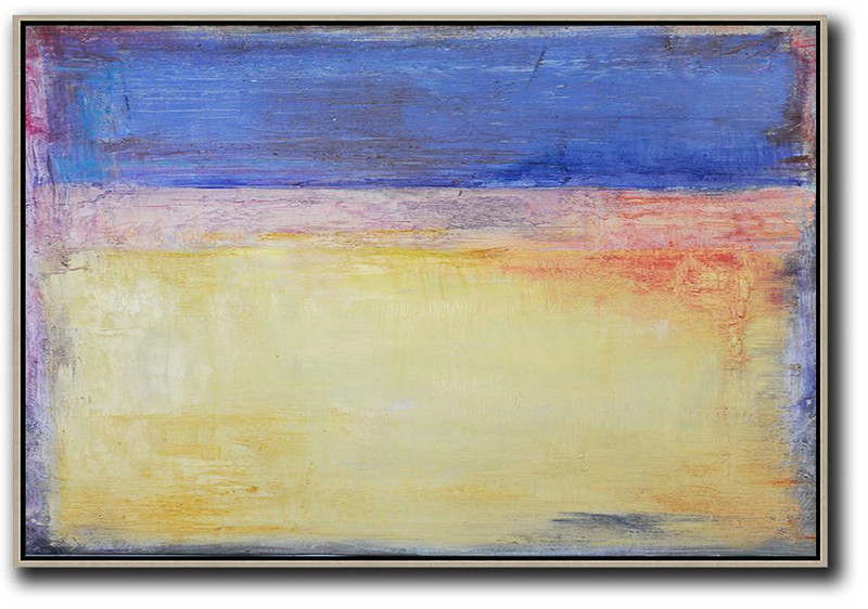 Oversized Horizontal Contemporary Art,Large Canvas Art,Modern Art Abstract Painting,Blue,Purple,Yellow,Red