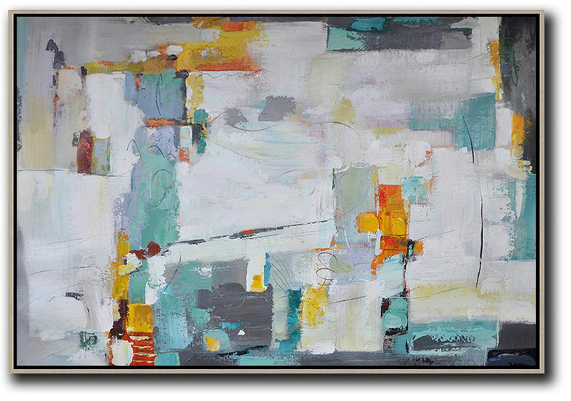 Oversized Horizontal Contemporary Art,Original Abstract Painting Canvas Art,White,Grey,Lake Blue,Yellow
