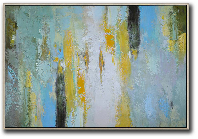 Oversized Horizontal Contemporary Art,Living Room Canvas Art,White,Yellow,Purple Grey,Black,Lake Blue