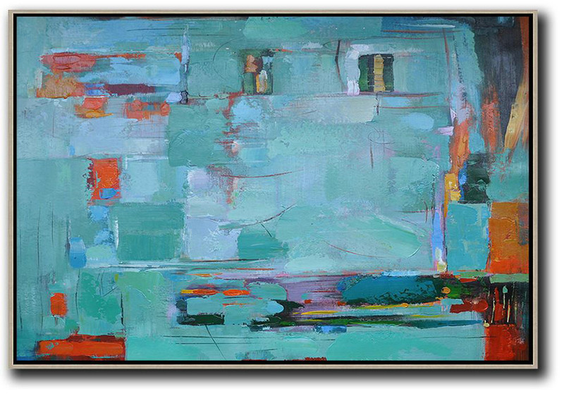 Oversized Horizontal Contemporary Art,Xl Large Canvas Art,Light Green,Orange,Purple