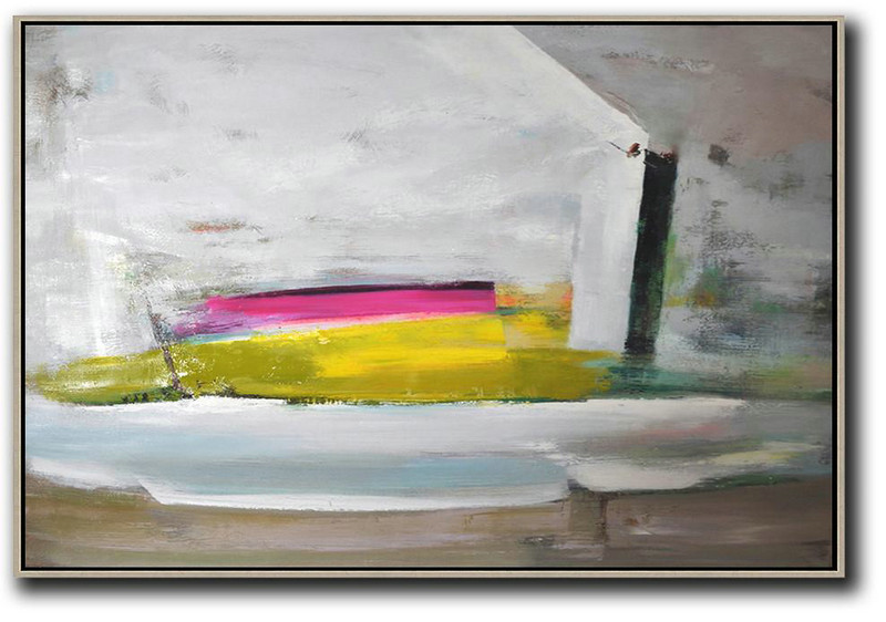 Horizontal Palette Knife Contemporary Art,Original Art For Sale By Artist,Grey.Yellow,Pink