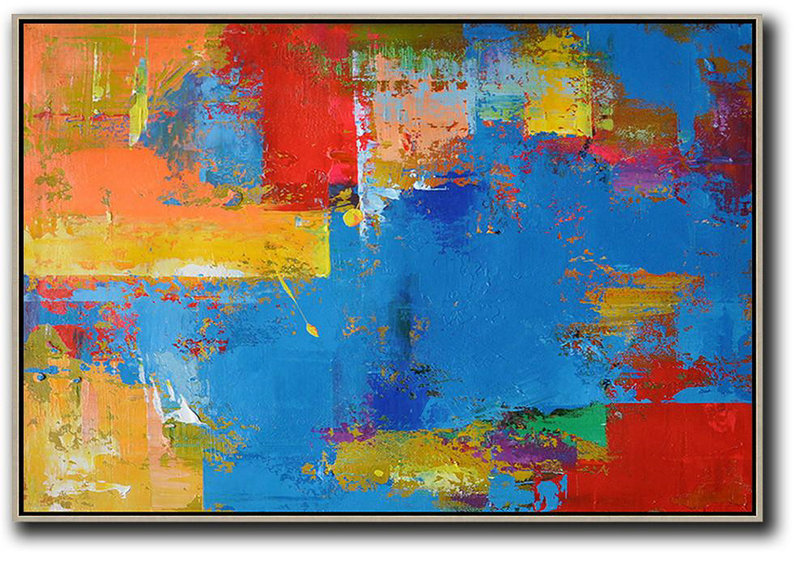 Horizontal Palette Knife Contemporary Art,Hand Painted Canvas Art,Blue,Red,Yellow,Orange