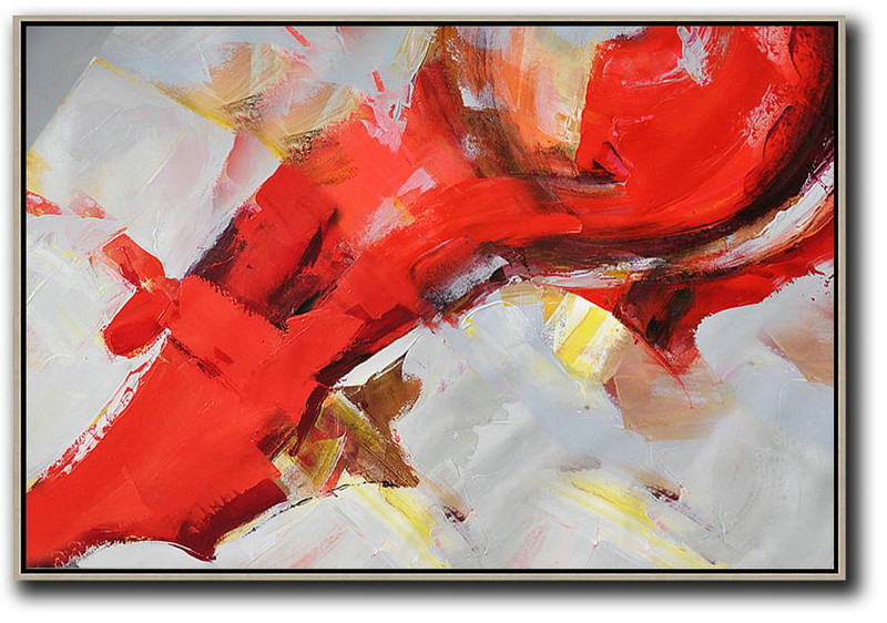 Horizontal Palette Knife Contemporary Art,Large Living Room Wall Decor,Red,Grey,Yellow