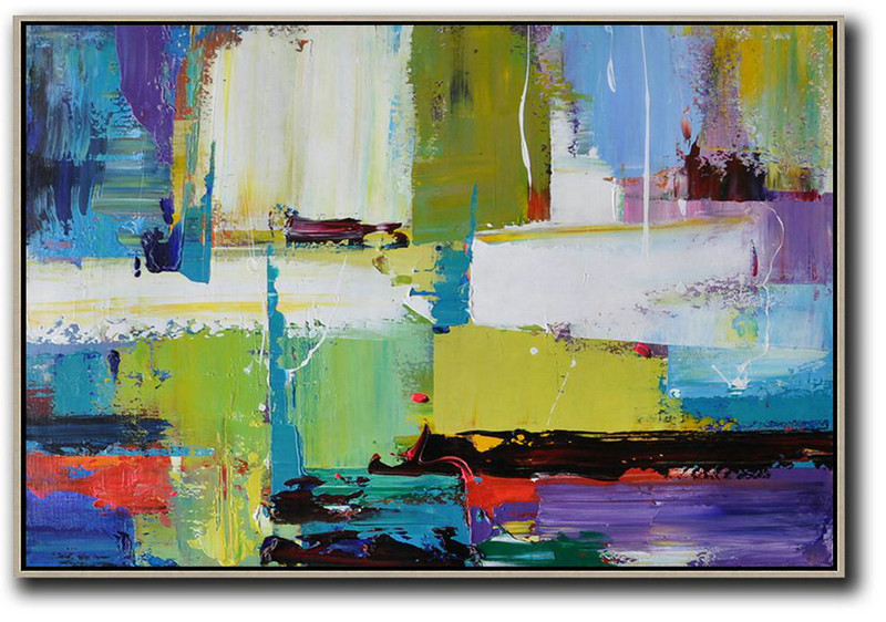 Horizontal Palette Knife Contemporary Art,Contemporary Artwork,Yellow,White,Blue,Purple