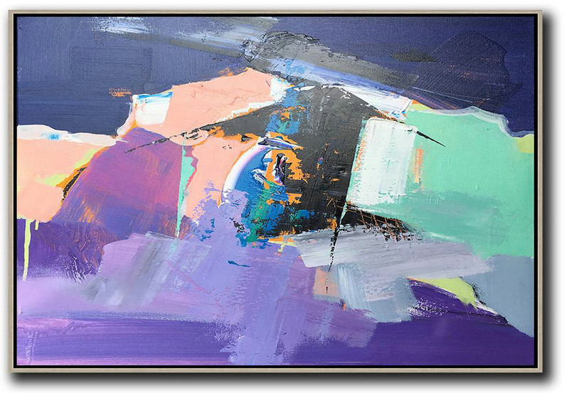 Horizontal Palette Knife Contemporary Art,Acrylic On Canvas Abstract,Pink,Purple,Black