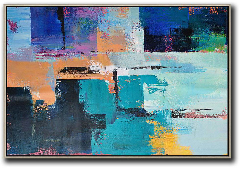 Horizontal Palette Knife Contemporary Art,Abstract Artwork Online,Earthy Yellow ,Blue,Black